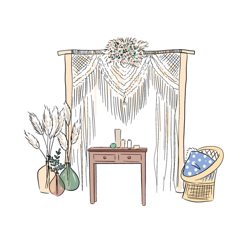 Arche Cérémonie laïque symbolique macramé et fleurs séchées